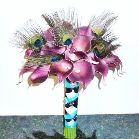 Simulation haut violet lis calla, naturel plume de paon mariée main fleur / mariage jeter bouquet / photographie accessoires