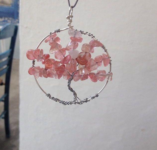 Cherry quartz tree of life
