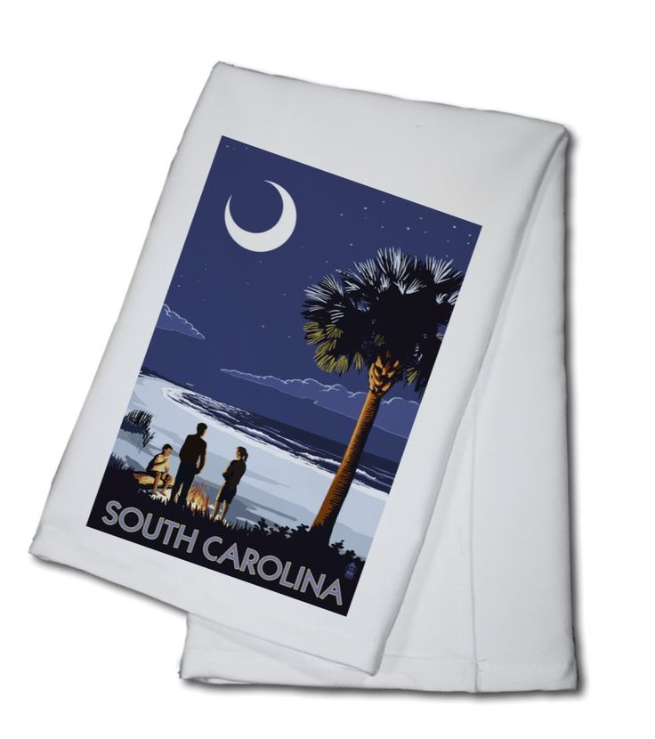 Towel (South Carolina - Palmetto Moon - Lantern Press Artwork)