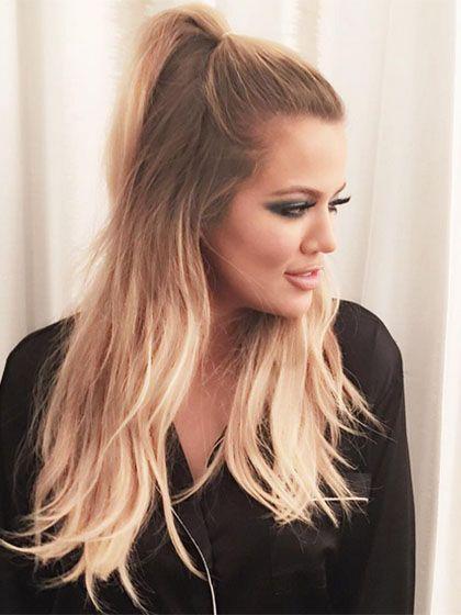 Long hairstyles - Khloe Kardashian's high, half-up ponytail   allure.com