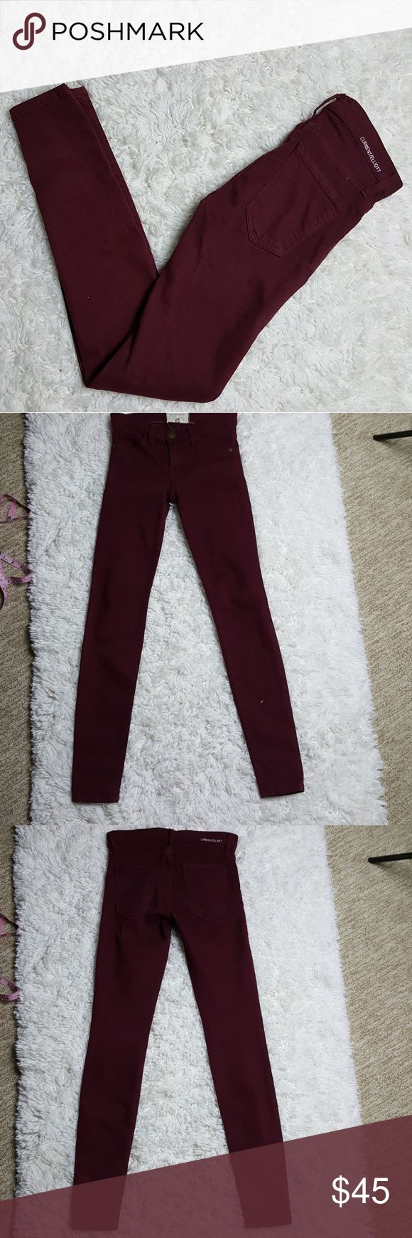 "Current Elliott The Ankle Skinny Bordeaux Jeans 24 A true eighties skinny Jean that hugs every curve. This jeans is to be worn very fitted and low on the waist. Preloved, very light fading along seams. No other flaws. Women's size 24.  Approximate Measurements Laid Flat- Waist- 13.5"" Length- 38"" Inseam- 30""  88% Cotton 9% Polyester 3% Elastane  #1210 Current/Elliott Jeans Ankle & Cropped"