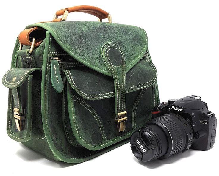 Purple Relic: Vintage Leather DSLR Camera Bag (Green); Crossbody; Fits DSLR with Lens For Canon Nikon Sony; #DslrCameras #vintagecameras