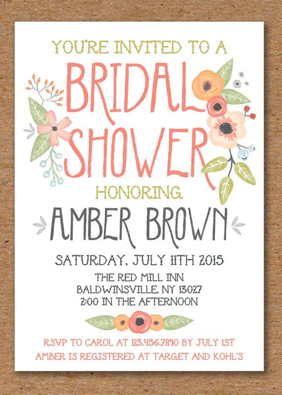 Floral Bridal Shower Invitation Printable door TheInvitationOven