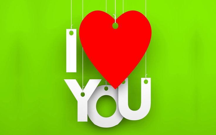 New I Love You Wallpapers HD Green Background And Hanging Heart 2