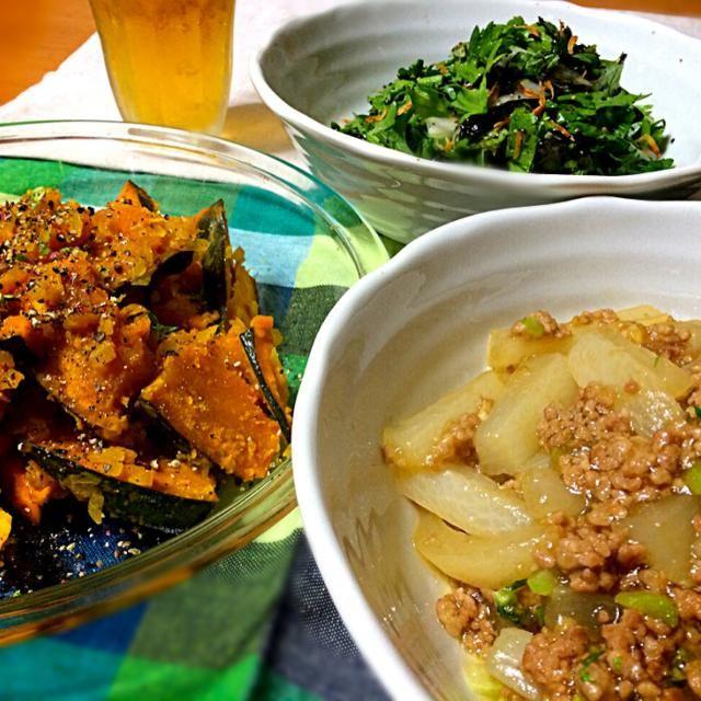 今夜の晩酌 - 83件のもぐもぐ - ともさんの大根のオイスター煮Tomoko Itoさんのパンプキンマリネ 春菊のエスニックサラダ by reirei7