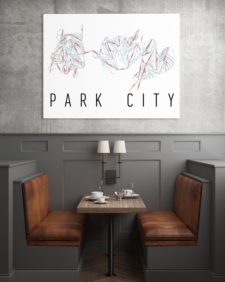 **MADE IN THE USA** You'll love this amazing Park City Mountain Art Print! This Park City ski map shows all of the trails and lifts at Park City. This will fit any decor, and also makes a great gift.