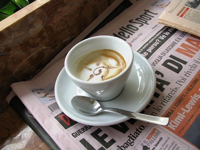 macchiato and a newspaper...key ingredients of the Italian lifestyle