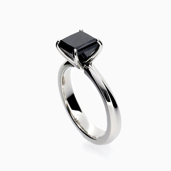Princess solitaire ring with Black Spinel in Platinum