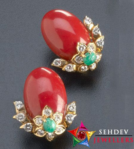 Stunning pair of coral earrings to let you spread your glamour. https://sehdevjewellers.com/coral/coral-fine-grade.html
