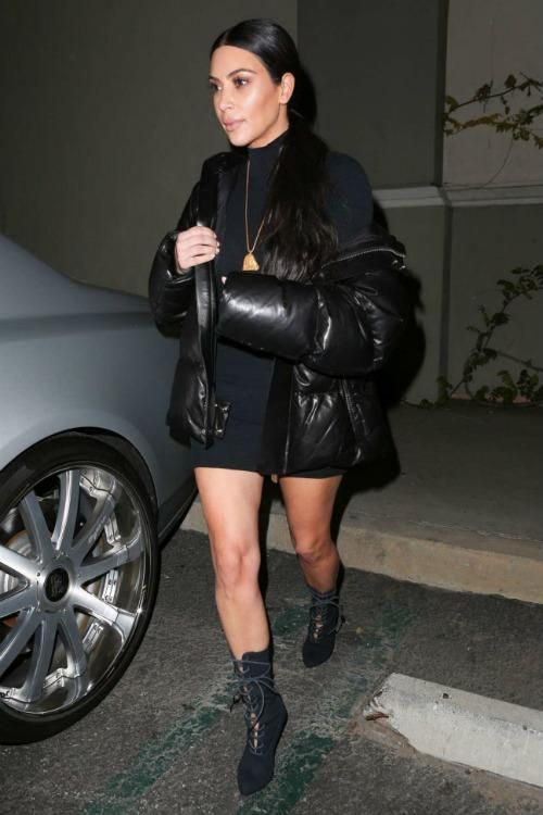 Black dress and boots yeezy