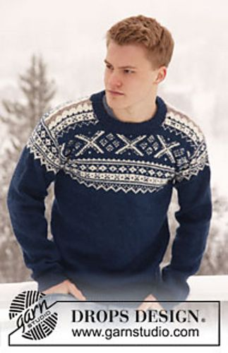 "Knitted DROPS men's jumper with Norwegian pattern in ""Karisma"""