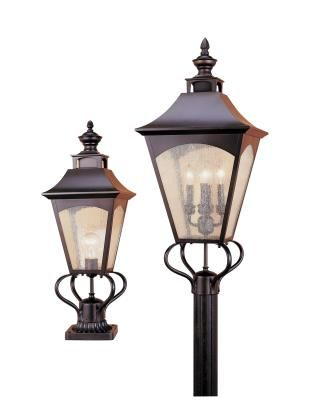 Handsome, colonial, antique styled solid brass outdoor lanterns, featuring seeded glass, square tapered frame with a curved top and die cast finial. Available in Oil Rubbed Bronze, Vintage Pewter and Weathered Patina. Murray Feiss - OL1007ORB - One Light Post - Oil Rubbed Bronze
