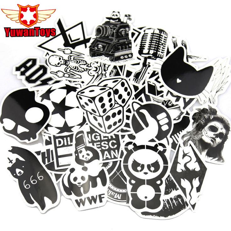 60Pcs Luggage Skateboard Car Black And White Sticker  Styling Vinyl Deacals Motorcycle Backpack Laptop Cool Doodle DIY Stickers #Affiliate