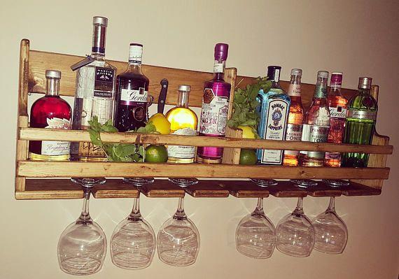 Mancave Pubshed Vintage Large Pub Bar 24 bottle wooden wine rack