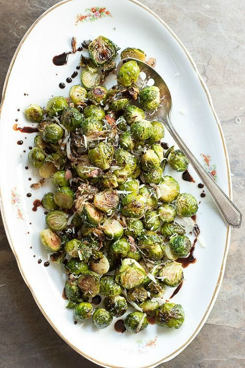 Roasted Brussels Sprouts with a Balsamic Glaze #brussels #vegetables #sidedish
