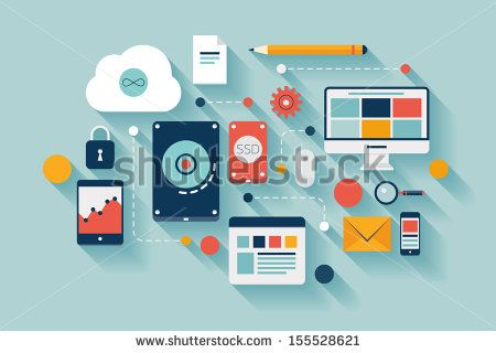 Flat design vector illustration concept of computer and connected mobile devices with links of transmission information on various data storage and cloud computing service on stylish background.