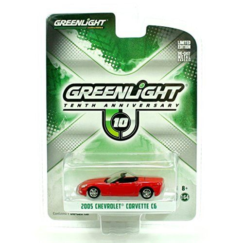 2005 Chevrolet Corvette C6 Red 10th Greenlight Anniversary Collection 1/64 by Greenlight 29789