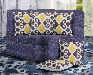 Brown/Yellow Damask Embroidery #CushionCover 5 Pcs Pack by #DekorWorld.