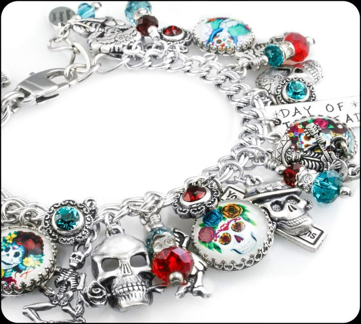 Day of the Dead Jewelry - Dia de Los Muertos - Day of the Dead Bracelet - Mexican Holiday - Sugar Skulls by BlackberryDesigns on Etsy https://www.etsy.com/listing/201584607/day-of-the-dead-jewelry-dia-de-los