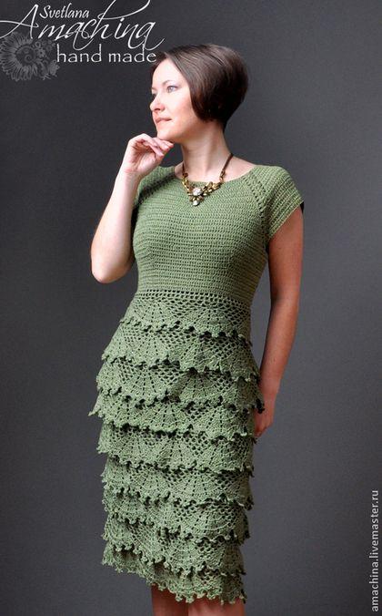 """Платья ручной работы. Ярмарка Мастеров - ручная работа. Купить Платье """"Кружевной каскад"""", авторская работа.... Handmade. Зеленый"""
