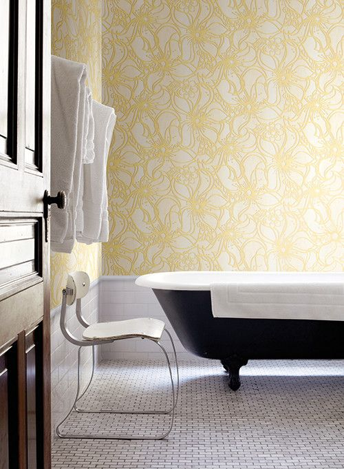 Whimsical Bloom Wallpaper in Sunshine Yellow design by Stacy Garcia for York Wallcoverings