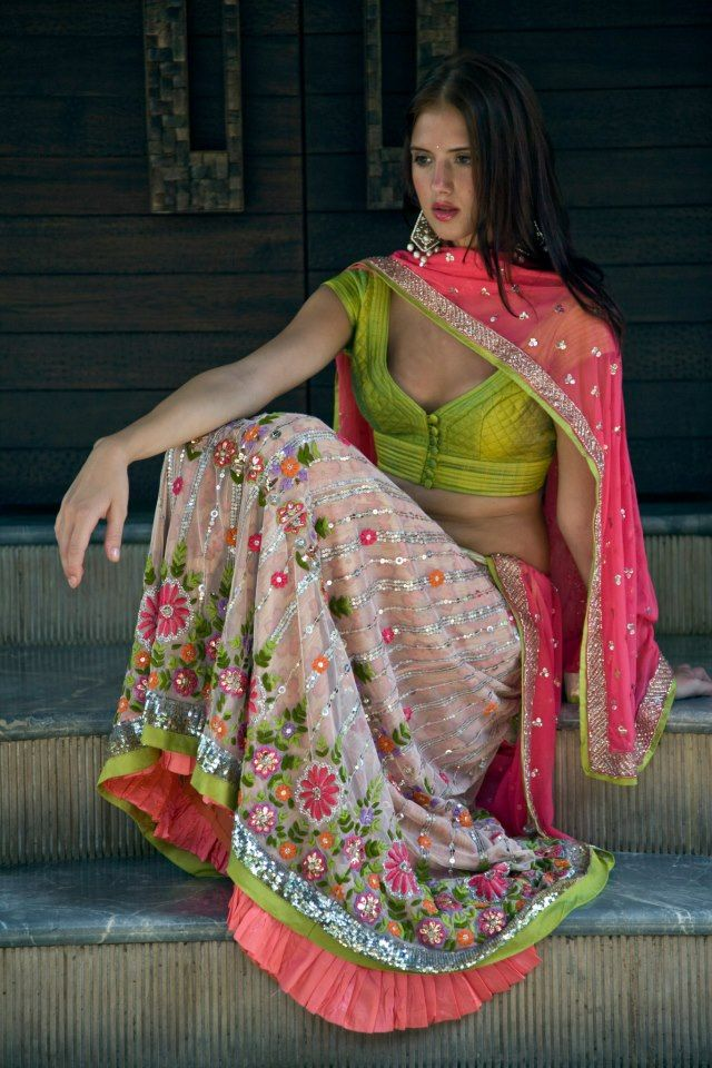 Arpita Mehta. Lookbook 10'. Indian Couture. Love the surprise of the acid green with the soft pinks