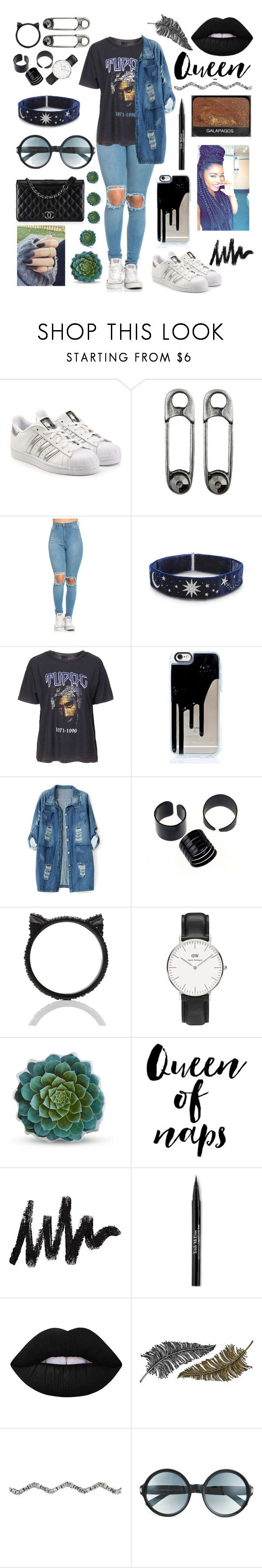 """""""💜2PAC💜"""" by raven-so-cute ❤ liked on Polyvore featuring adidas Originals, Topshop, Chanel, Chicnova Fashion, Kate Spade, Daniel Wellington, Dot & Bo, WALL, Trish McEvoy and Lime Crime"""