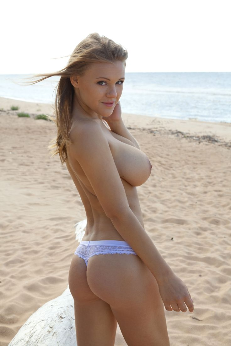Hot topless young blonde woman