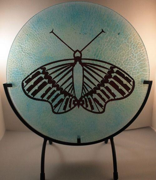 "Nisga Butterfly by Alisa Nielsen, Spirit Wolf Design Seried: 4 of 50 approximately 10"" diameter Kiln Formed Fused Glass $180USD"