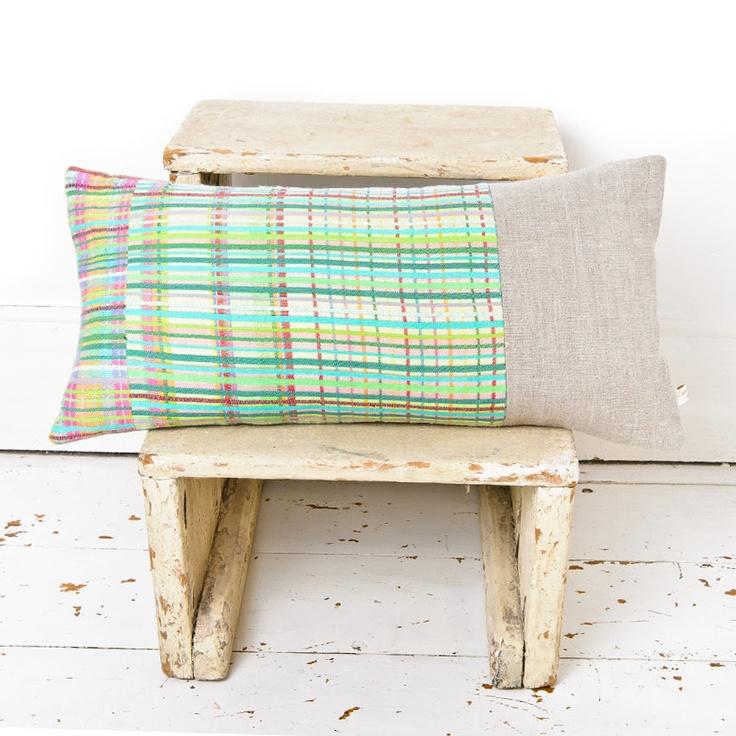 Rowhedge stripe cushion, hand woven by Laura Fletcher Textiles.