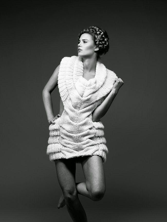 Sculptural Fashion - knitted dress with intricate shape, artistic knitwear design // Caroline Dahl