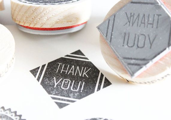 Thank you stamp. Use the stamp tot brighten up your orders!