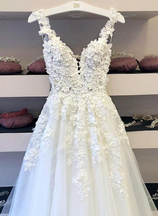 White tulle lace applique long prom dress, formal dress