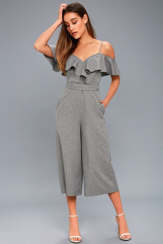 f683f572ecb Top of the Class Grey Striped Midi Jumpsuit 1