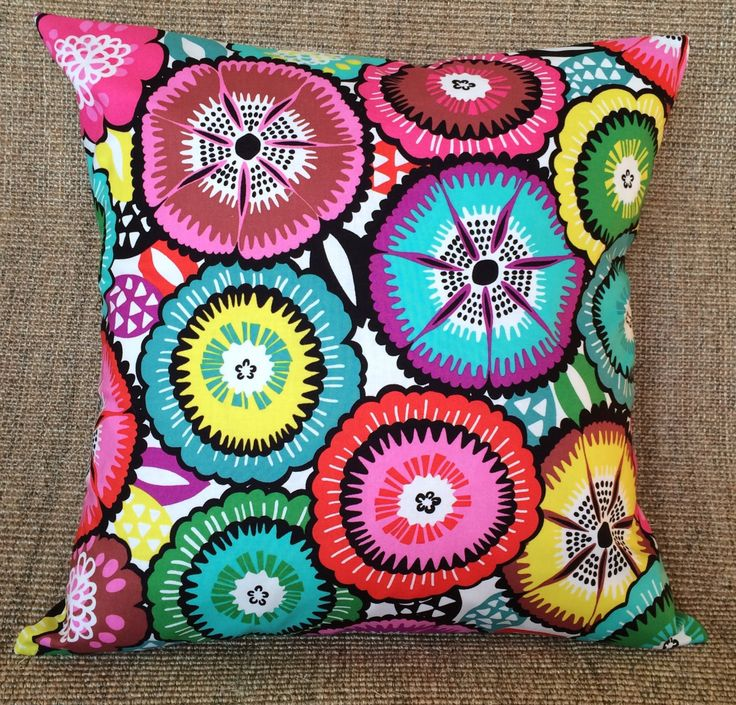 "18"" Mexican Day of the Dead Pillow Cover - Alexander Henry's Folklorico Collection - Bright Bold Funky Flowers - Psychedelic - Folk Boho by CushionStarsBoutique on Etsy"