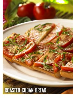 Roasted Cuban Bread - The BEST Garlic Bread/Bruschetta/French Bread Pizza Hybrid EVER!!! I make this for special occasions as a side (goes great with a steak or grilled chicken), and knowing my family, I have to make double or triple batches!