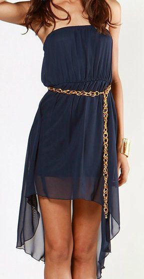.: Navy Chiffon, Gold Chains, Dark Blue Dresses, Chic Belts, High Low Dresses, Chiffon Hi Lo, Chains Belts, Hi Lo Dresses, Chiffon Dresses
