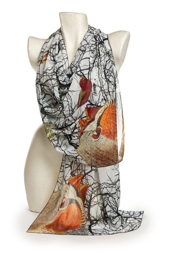 Branches Shawl, Art shawl, Oversized shawl and wrap, Bird shawl, Chiffon cover up, Elegant soft shawl, Christmas gift, Luxury gift for her
