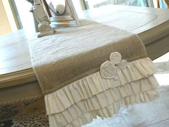 Cottage Chic  Burlap Ruffled Table runner  with by ShabbieChicHome, $49.00