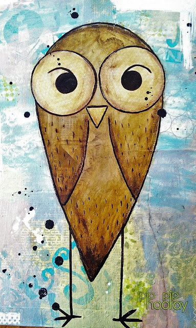 mixed media owl (another pinners journal with pip gerard)