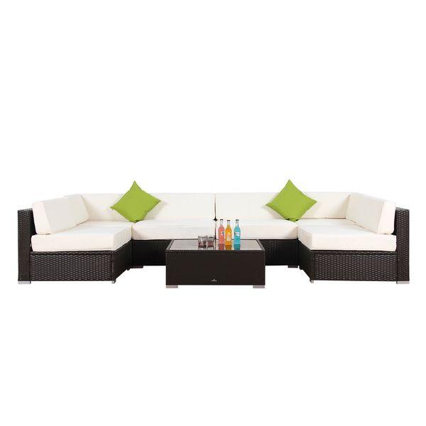 $1046 BroyerK 7 Piece Outdoor Rattan Patio Furniture Set   Overstock.com  Shopping
