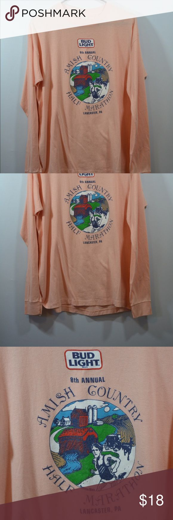 """Budlight 8th Annual Amish County Marathon T Shirt Budlight 8th Annual Amish County Marathon T Shirt Made In USA,peach color. Size XL with measurements in inches. Length:26.5"""",Chest:21.5"""",Sleeve:23"""" Tops Tees - Long Sleeve"""