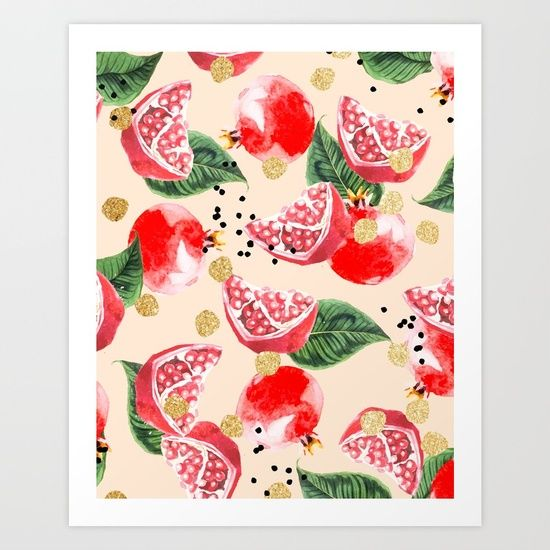 Pomegranate And Gold Pattern