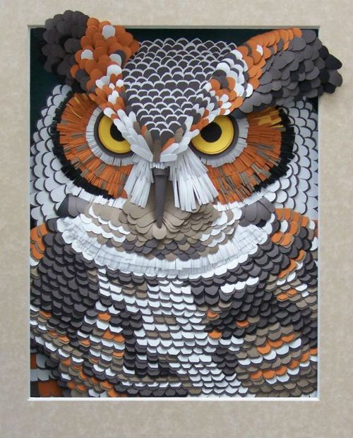 Incredible Great Horned Owl Paper Sculpture