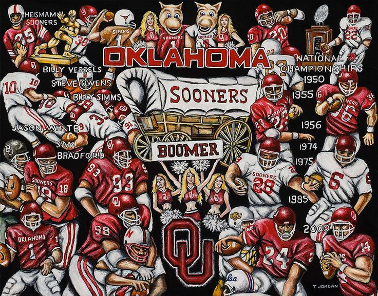 Sports Print -- Thomas Jordan Gallery Painting -- Sooners Tribute -- $75.00