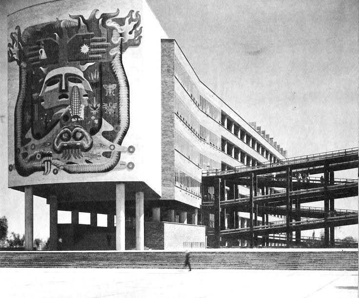 Escuela de Medicina de la Ciudad Universitaria (UNAM), México DF 1958   Arqs. Roberto Alvarez Espinosa, Pedro Ramírez Vásquez, y Ramón Torres -  School of Medicine, Cuidad Universitaria (UNAM), Mexico City 1958