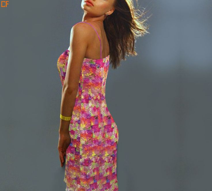 Pink abstract dress with spaghetti sleeves.Have something to match your blush #Abstract #Mini http://www.droomfashion.com/