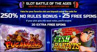 New Slot Battles of Ages: 250% No Rules Bonus and 25 Free Spins at 9 RTG Casinos
