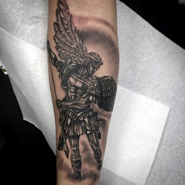 Beautiful Winged Guardian Angel Tattoo Male Forearms