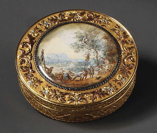 Maker: Johann Wilhelm Keibel (master 1812; died 1862). Snuffbox with scene of harvesting fruit, ca. 1820. The Metropolitan Museum of Art, New York. Gift of J. Pierpont Morgan, 1917 (17.190.1183a, b)